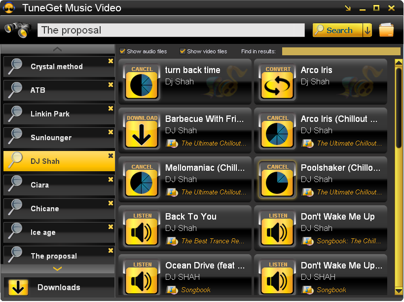 Click to view TuneGet Music Video 3.3.8 screenshot