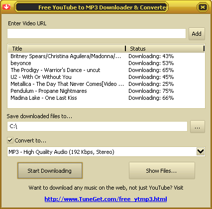 Free YouTube to MP3 Downloader and Converter Screenshot